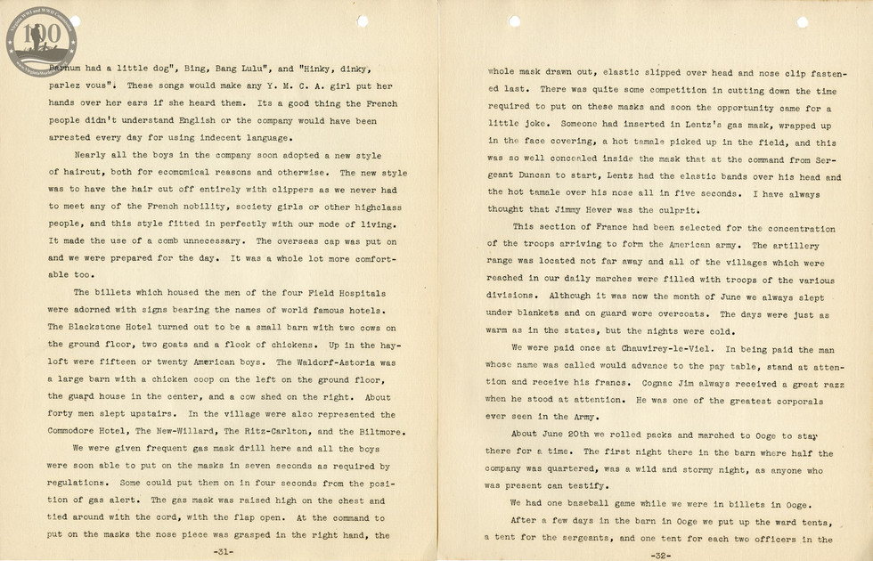 318th Field Hospital History - Pages 031-032