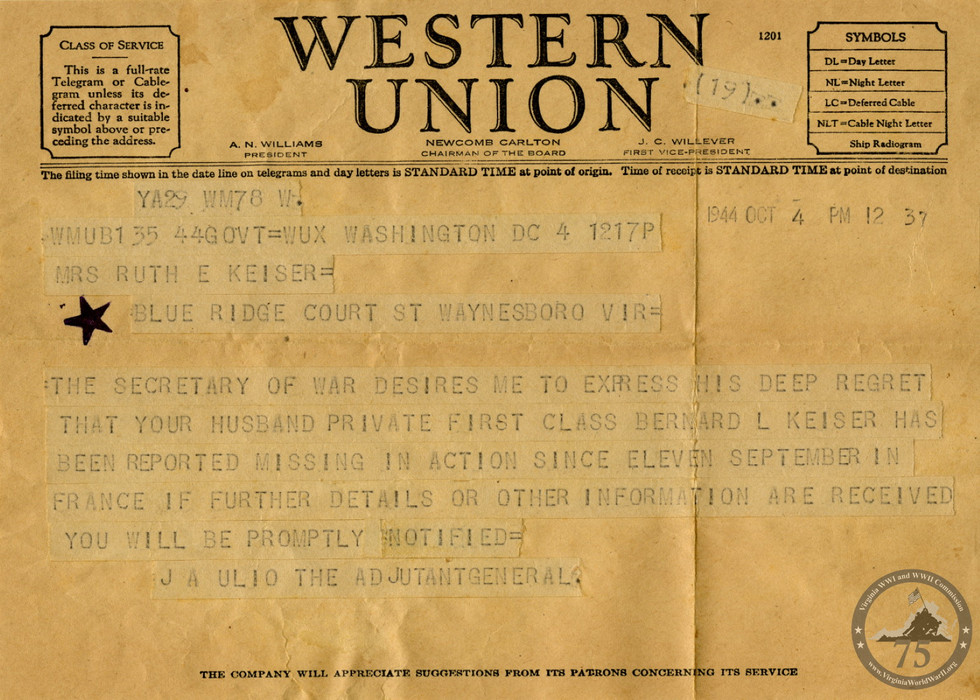 Keiser, Bernard - WWII Document