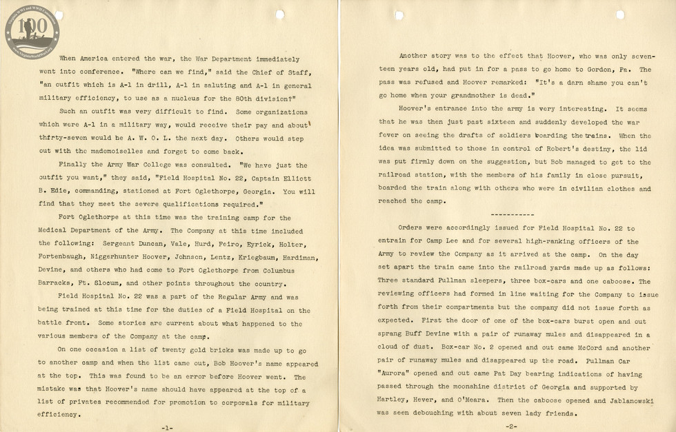 318th Field Hospital History - Pages 001-002