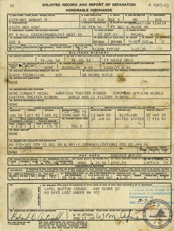 Cutright, Hobart D. - WWII Document