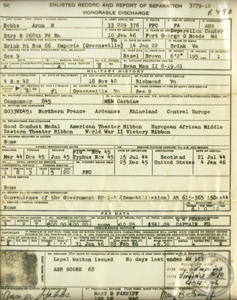 Hobbs, Aron - WWII Document