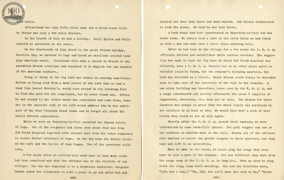 318th Field Hospital History - Pages 029-030