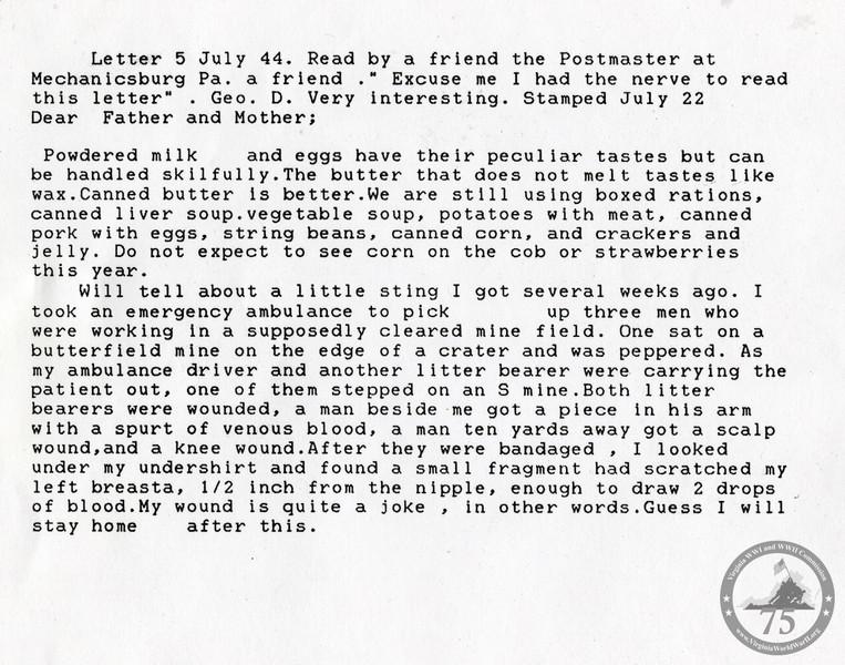 Brandt, Charles R. - WWII Letter