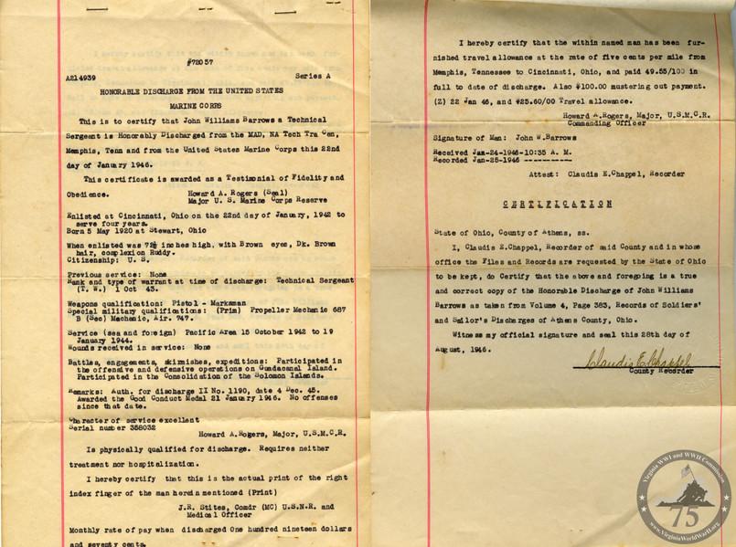 Barrows, John William - WWII Document