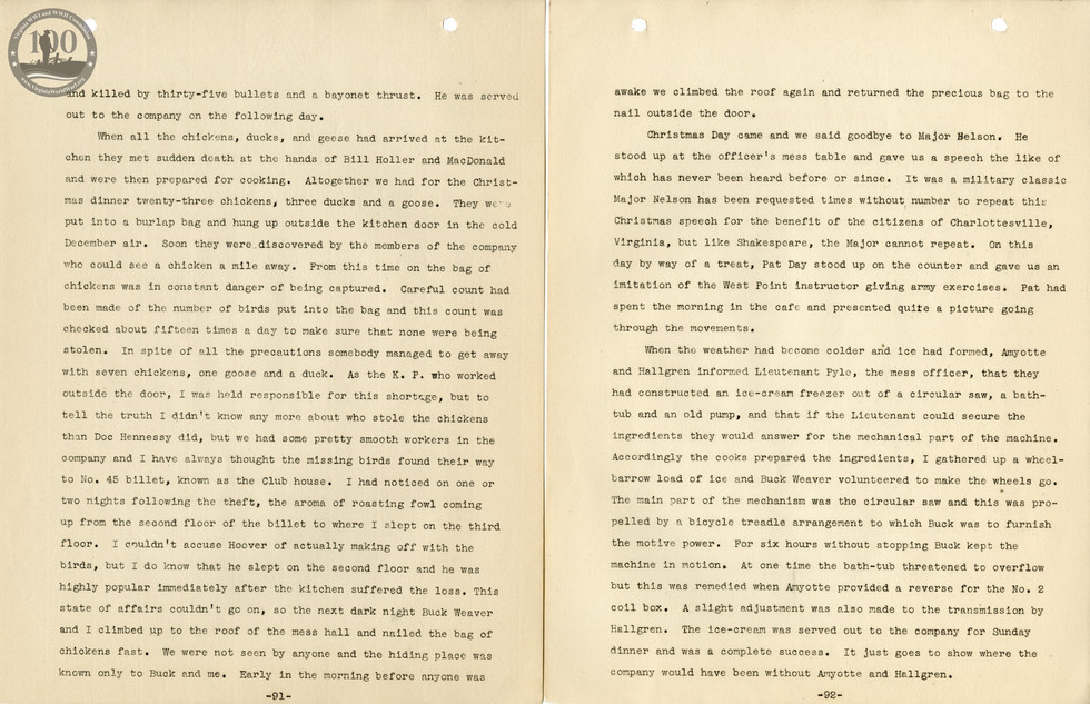 318th Field Hospital History - Pages 091-092