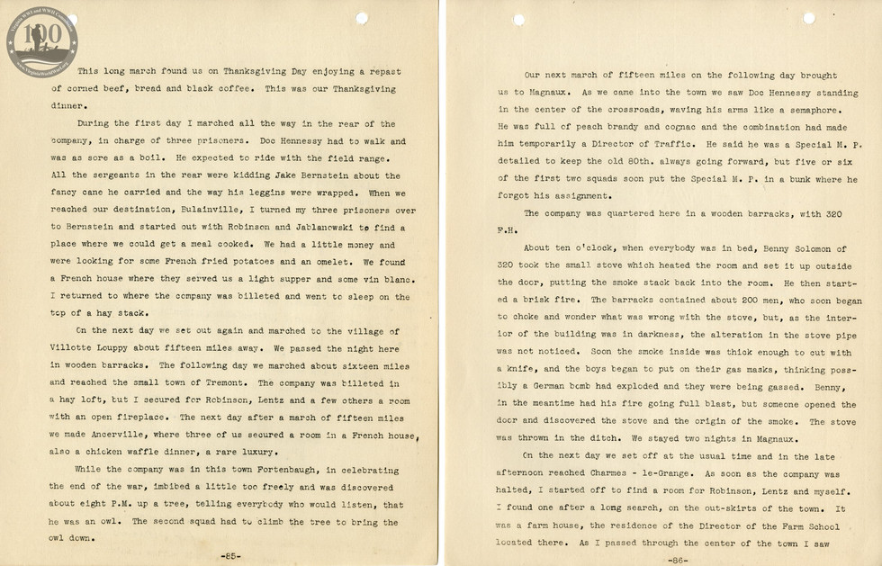 318th Field Hospital History - Pages 085-086