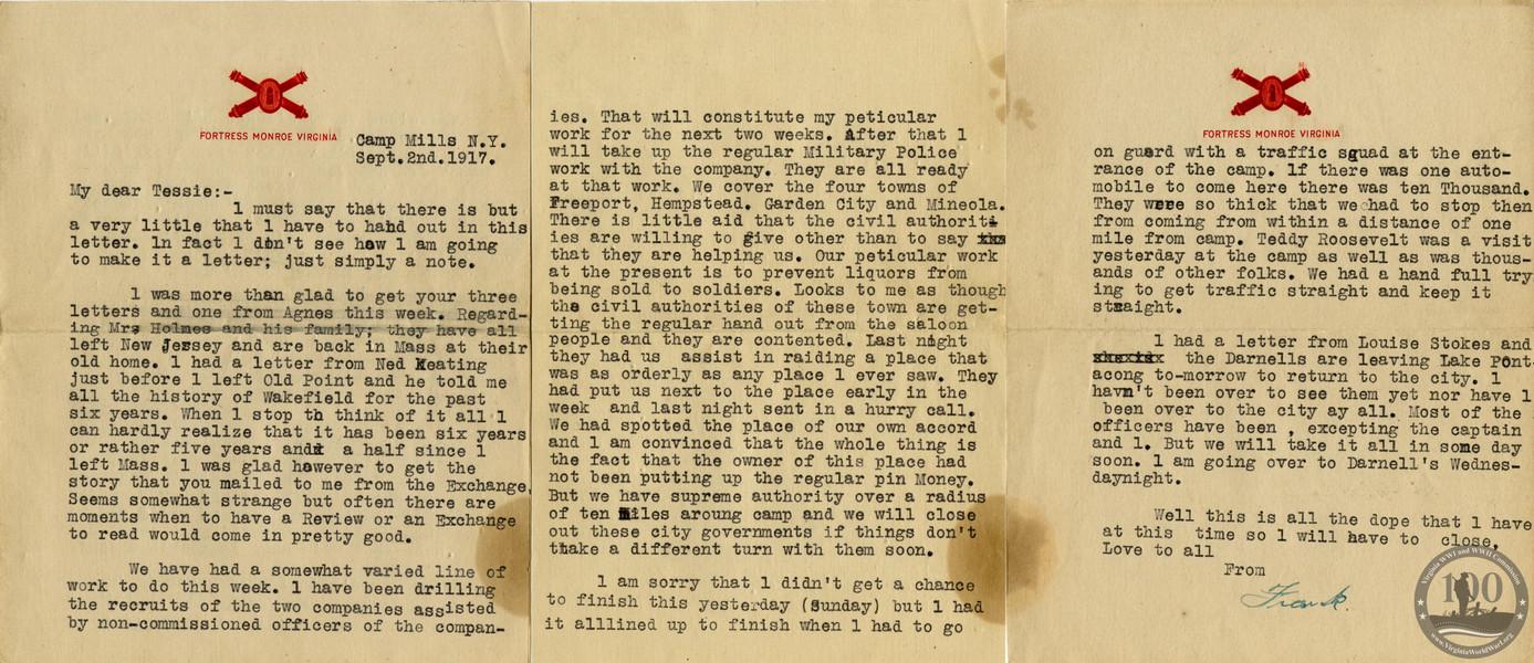 Brosch, Frank J. - WWI Letter