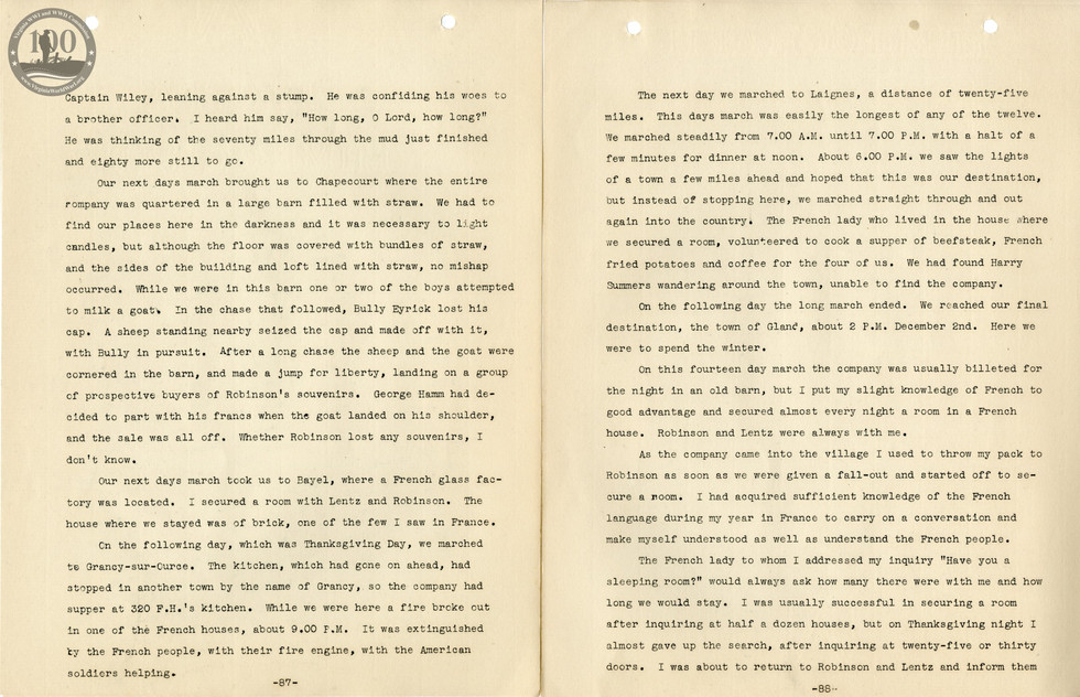 318th Field Hospital History - Pages 087-088