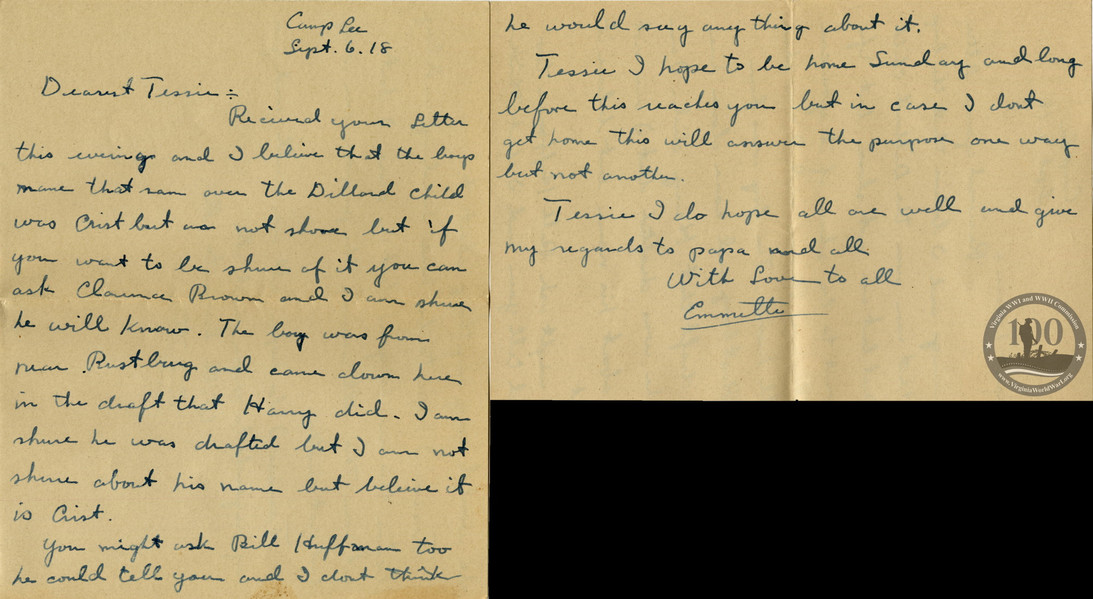 Brosch, Emmette A. - WWI Letter