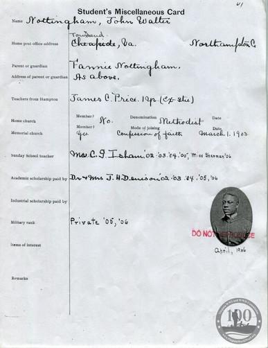 Nottingham, John - WWI Document