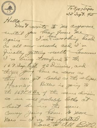 Hottle, Billy L. - WWII Letter
