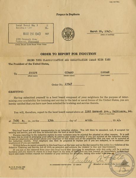 Coogan, Joseph G. - WWII Document