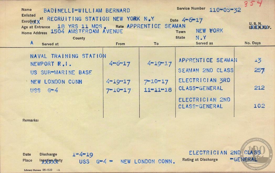 Badinelli, William B. - WWI Document