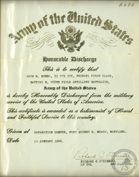 Hobbs, Aron - WWII Document