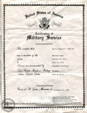 Townsend, Walter - WWI Document