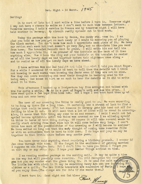 Butt, Henry C. - WWII Letter