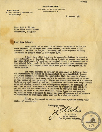 Keiser, Bernard - WWII Letter
