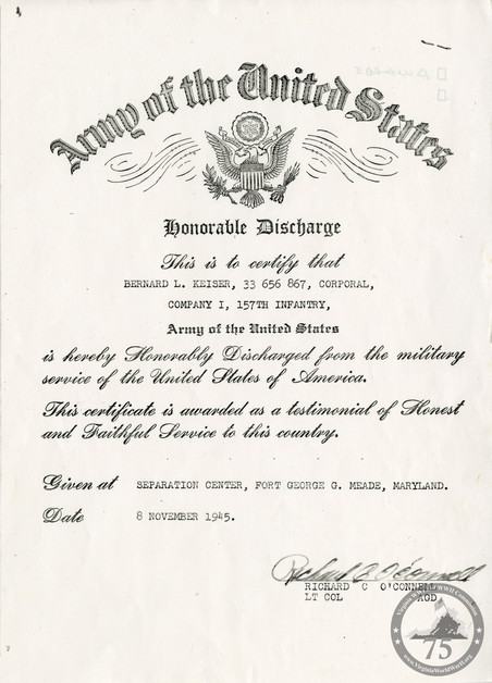 Keiser, Bernard - WWII Document
