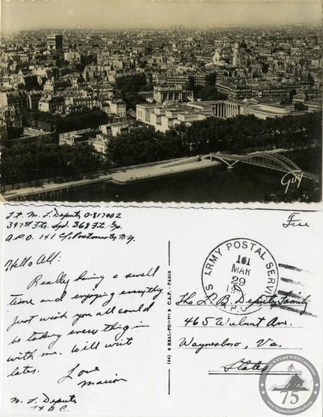 Deputy, Marion L. - WWII Postcard