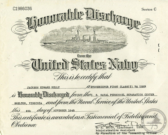 Kelly, Jackson E. - WWII Document
