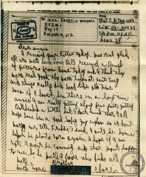 Turner, Charlie Ben - WWII Letter