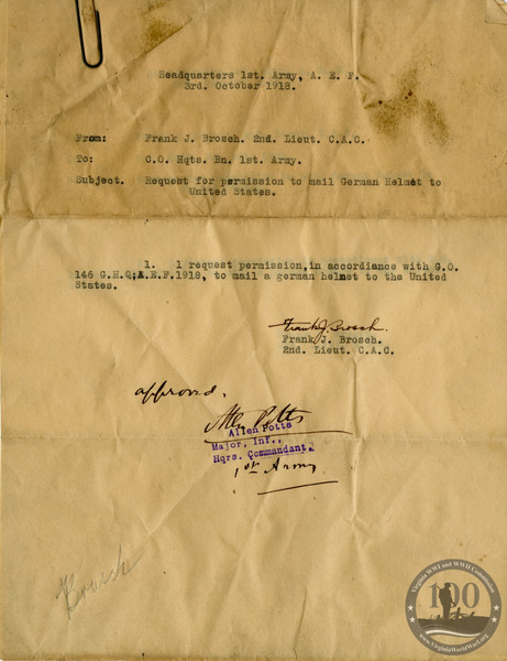 Brosch, Frank J. - WWI Document