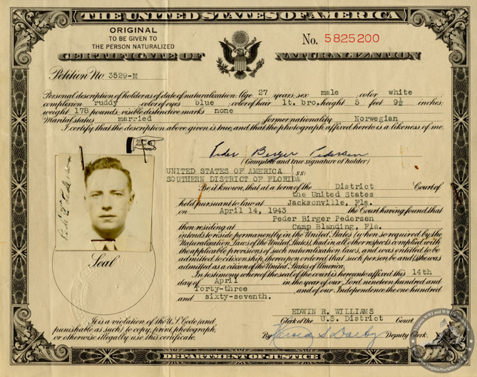 Pedersen, Peder B. - WWII Document