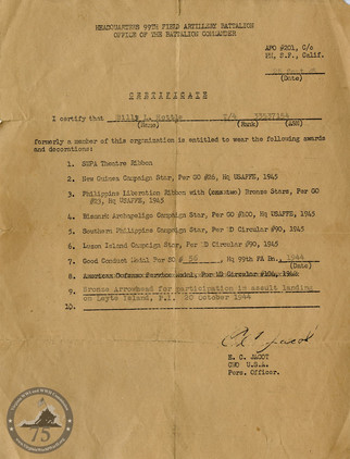 Hottle, Billy L. - WWII Document