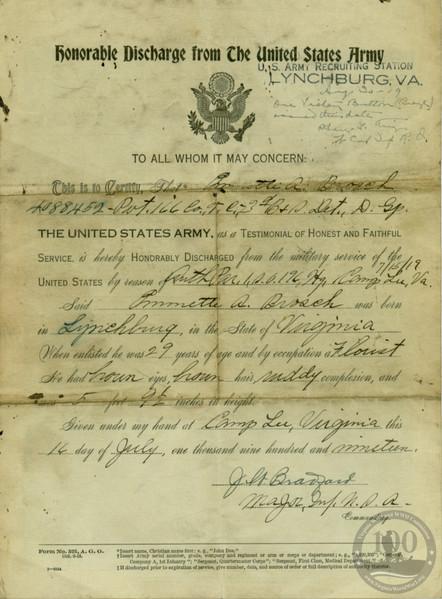 Brosch, Emmette A. - WWI Document