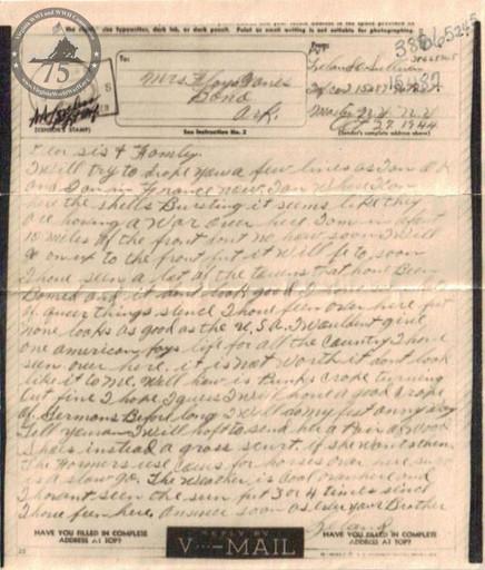 Sullivan, Leland - WWII Letter