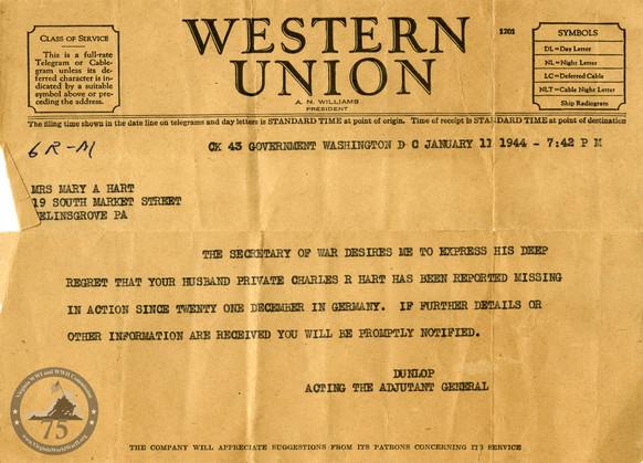 Hartt, Charles - WWII Letter