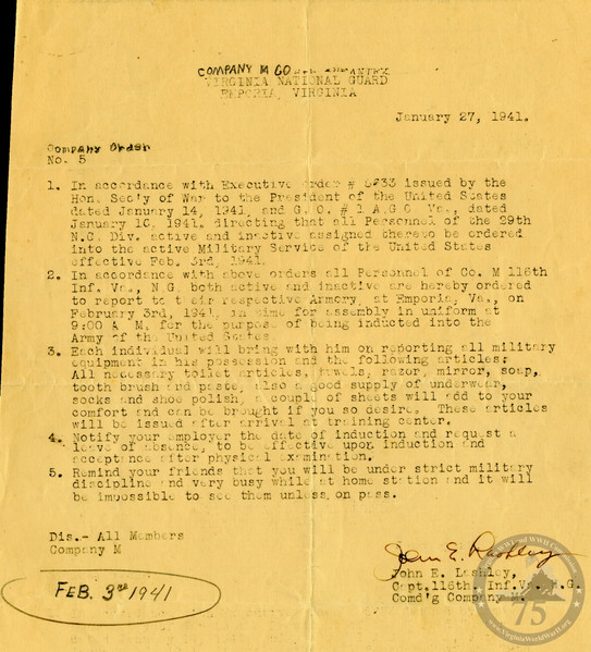 Company M, 116th Infantry Regiment, 29th Division - WWII Document
