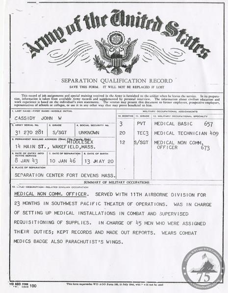 Cassidy, John W. - WWII Document