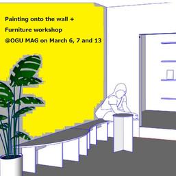カフェ部分ペンキ塗り+OGU MAG + STUDIO GROSS家具作りのワークショップ その2、その3 3/6(土), 7(日), 13(土)