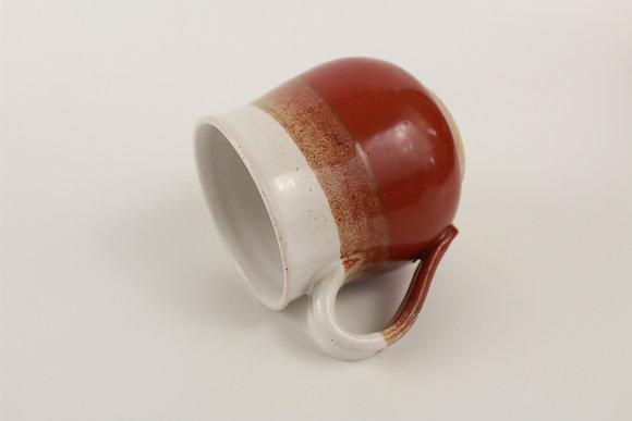 T red and White mug