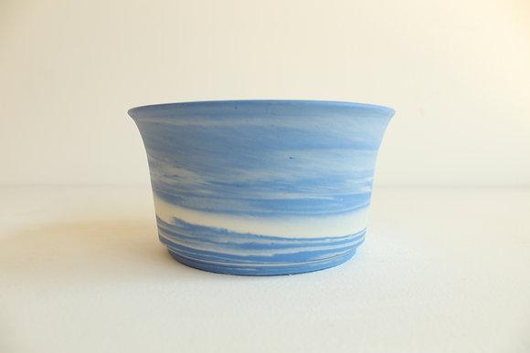 Marbled porcelain -  sky blue & white