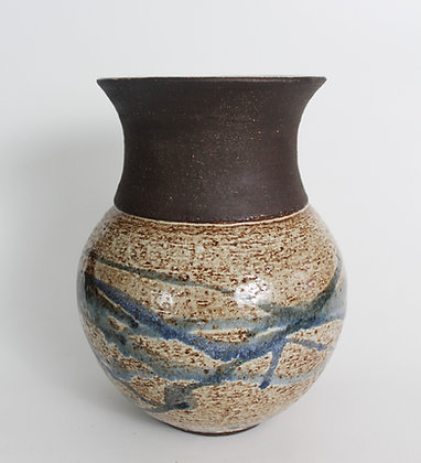 Bulbous Black Clay Vase