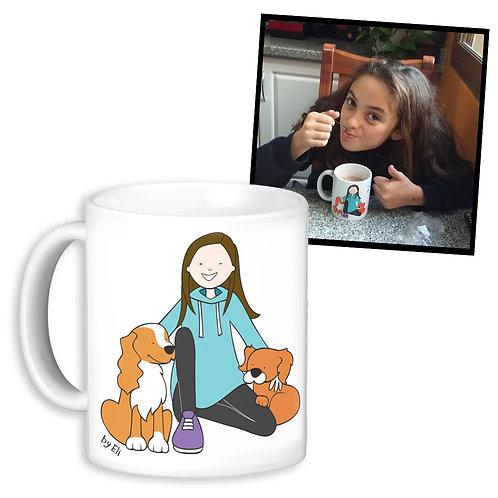 Ilustración personalizada aplicada en taza
