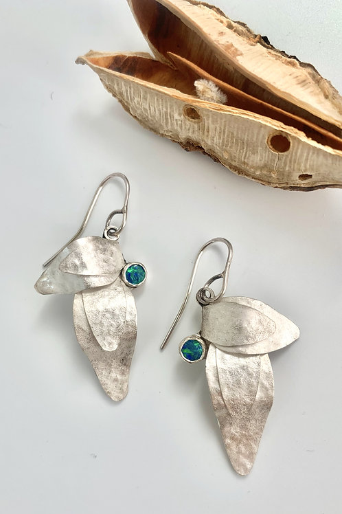 Large silver two leaf earrings with opal