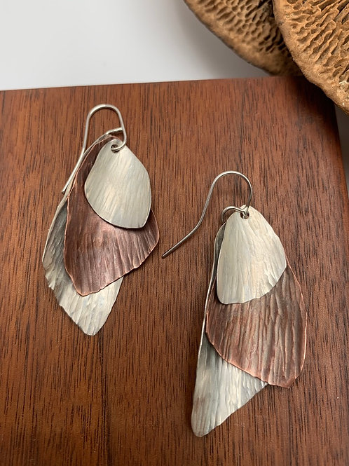 Silver and copper triple wing earring