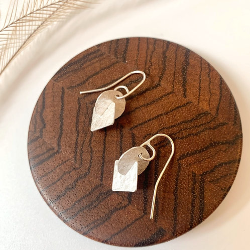 Small silver circle-square earrings