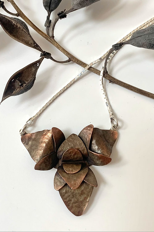 Copper and silver trillium necklace