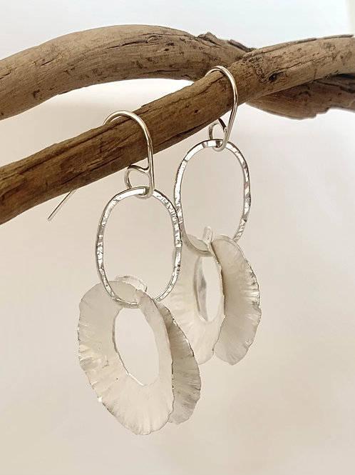 Silver feathered oval drops