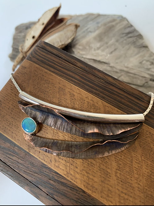 Copper fold-form opal necklace