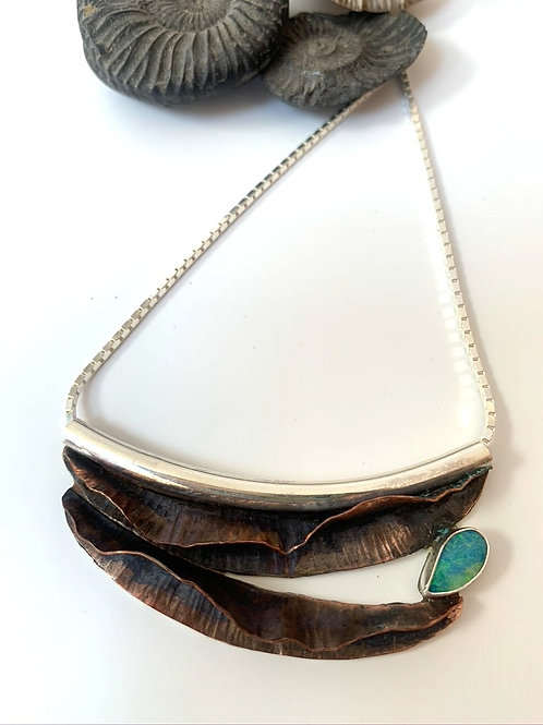 Copper and silver fold-form opal necklace