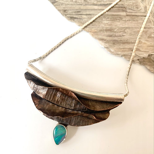 Copper fold-form opal necklace