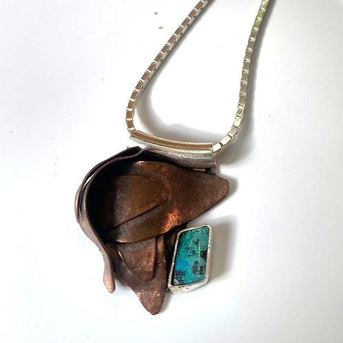 Copper leaf pendant with boulder opal
