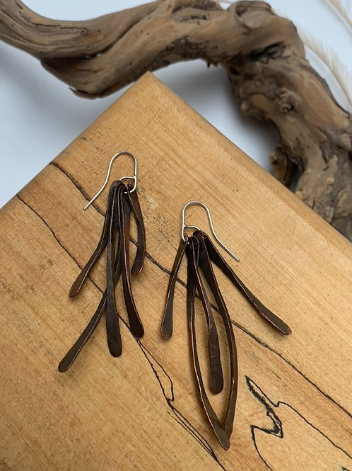 Copper twig earrings