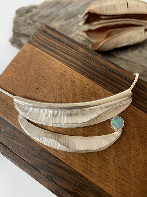 Sterling silver fold-form necklace with Australian opal