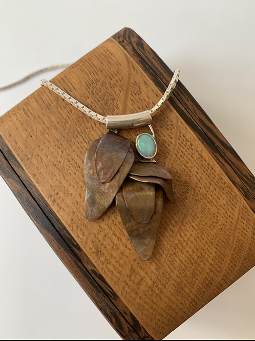 Copper and sterling silver necklace with Australian Opal